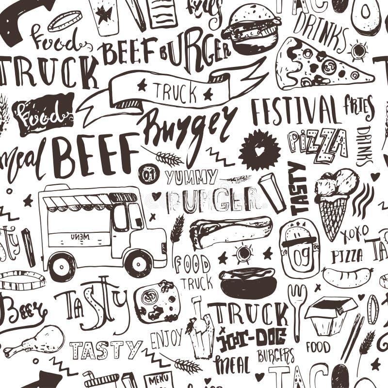 Teste padrão sem emenda do caminhão do fast food com artigos da rotulação e da garatuja Fundo do festival do vetor para o menu, e ilustração do vetor
