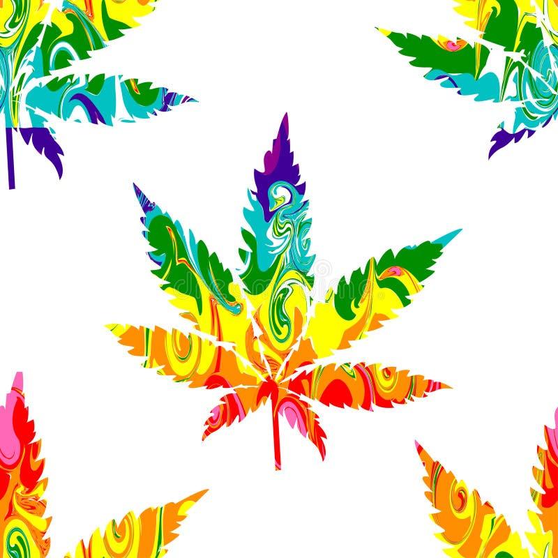 Teste padrão sem emenda do cannabis abstrato ilustração royalty free
