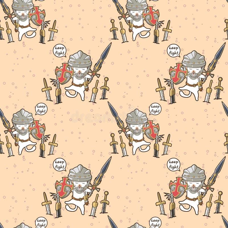 Teste padrão sem emenda do caráter do gato do cavaleiro do kawaii ilustração royalty free