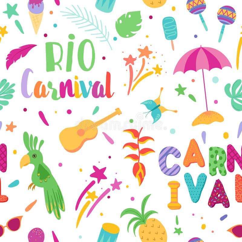 Teste padrão sem emenda do carnaval brasileiro Brasil Samba Carnival Background com tucano e elementos tropicais Rio de Janeiro ilustração stock