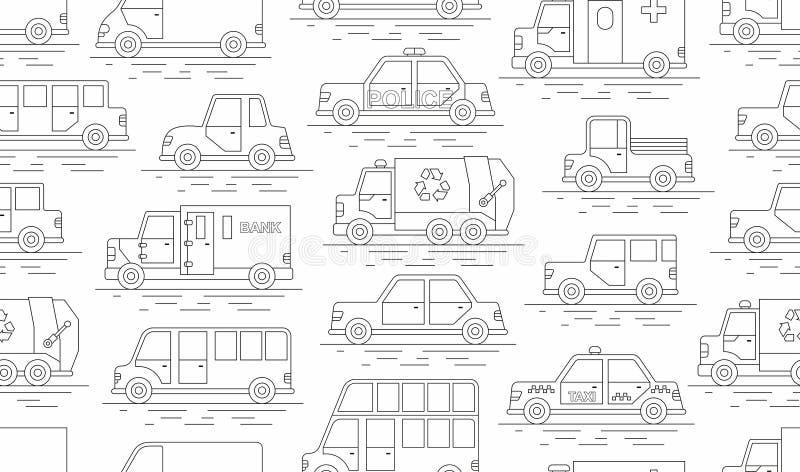 Teste padrão sem emenda do carro estilo linear Ilustração do vetor ilustração stock