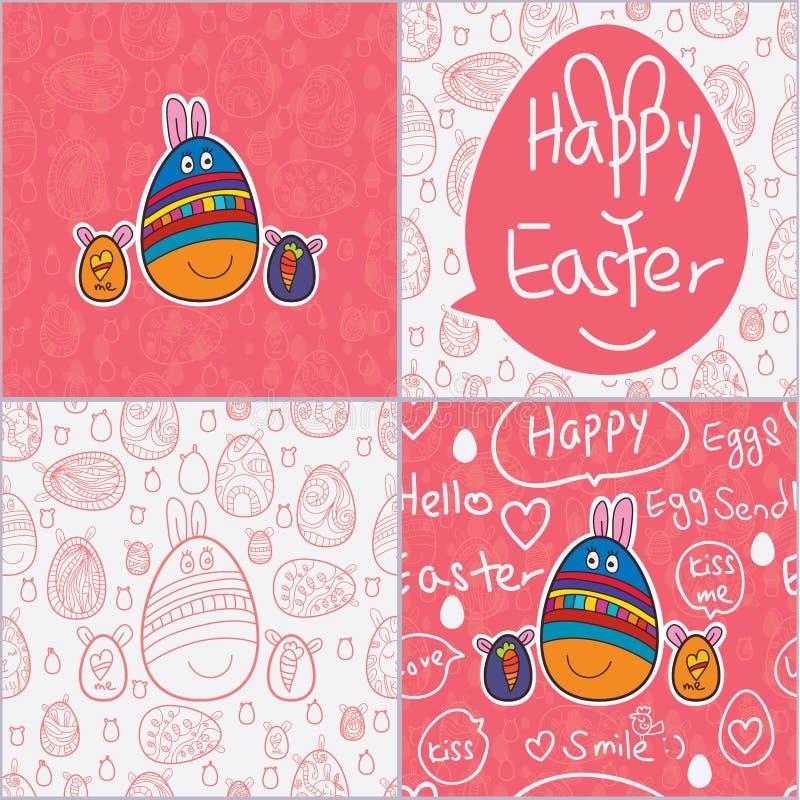 Teste padrão sem emenda do cartão bonito da Páscoa do ovo ilustração do vetor