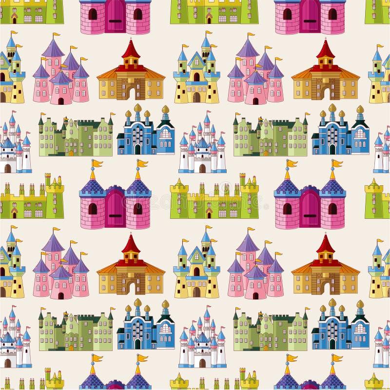 Teste padrão sem emenda do castelo do conto de fadas dos desenhos animados ilustração royalty free