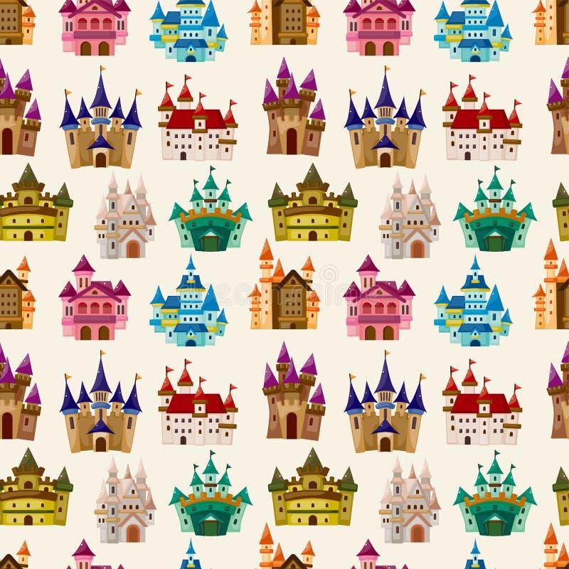 Teste padrão sem emenda do castelo do conto de fadas dos desenhos animados ilustração do vetor
