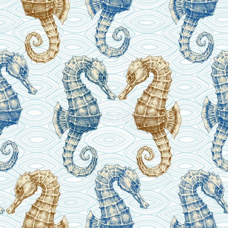 Teste padrão sem emenda do cavalo de mar ilustração royalty free