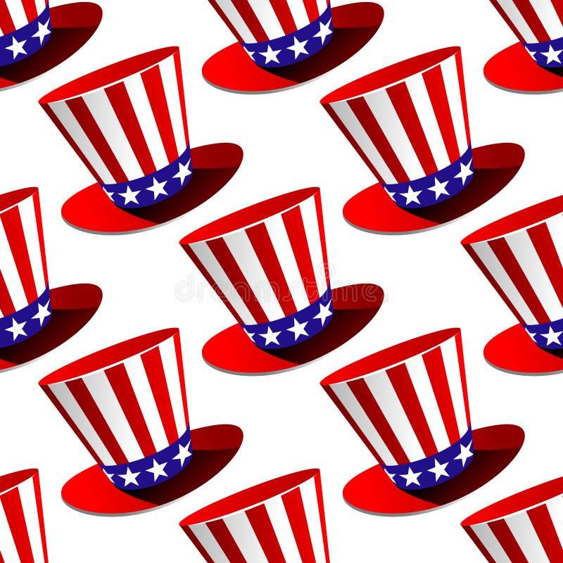 Teste padrão sem emenda do chapéu alto americano patriótico ilustração stock