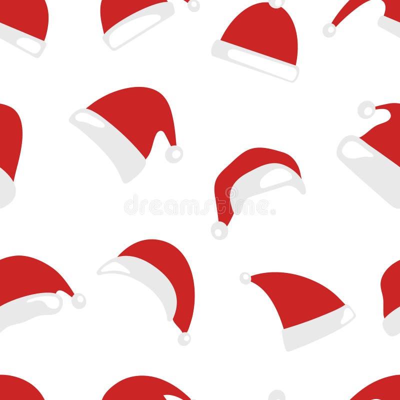 Teste padrão sem emenda do chapéu do Natal ilustração royalty free