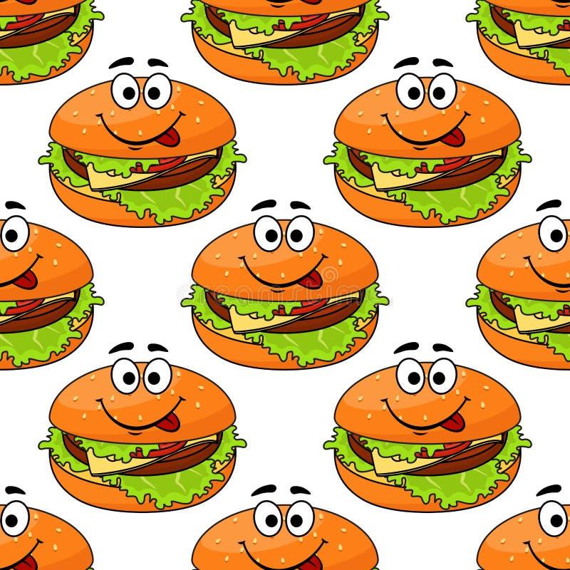 Teste padrão sem emenda do cheeseburger dos desenhos animados ilustração stock