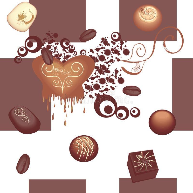 Teste padrão sem emenda do chocolate ilustração do vetor