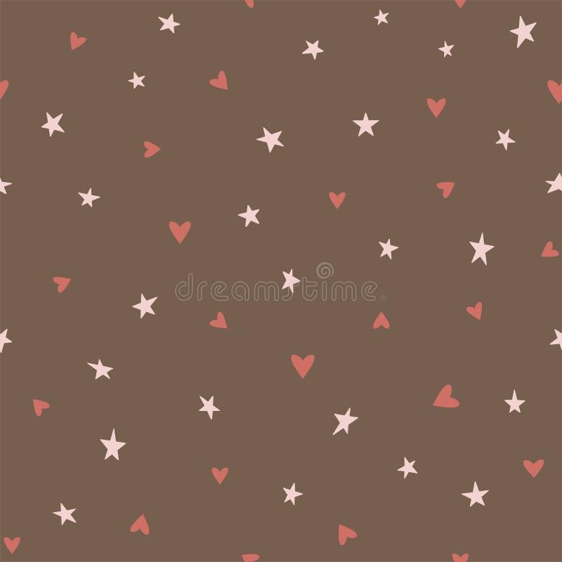 Teste padrão sem emenda do chocolate com corações e estrelas em um fundo marrom Vetor imagem de stock