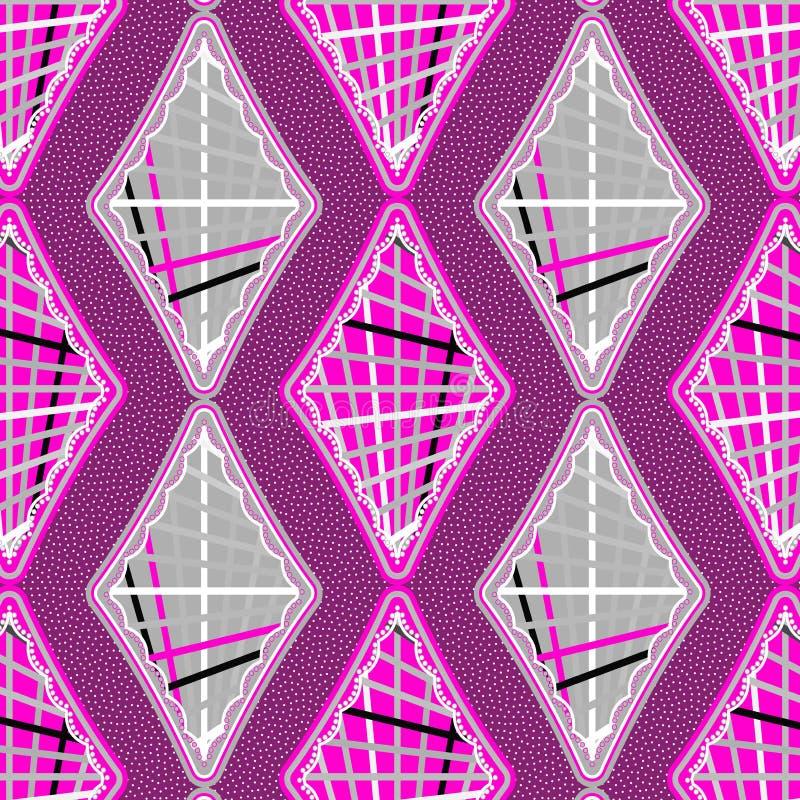 Teste padrão sem emenda do cinza cor-de-rosa e de prata ilustração stock