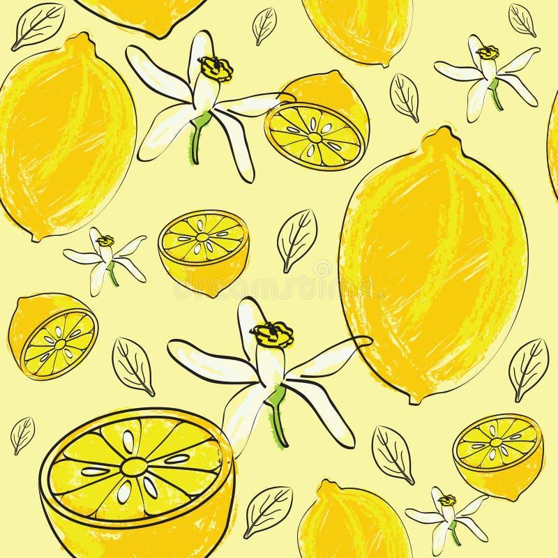 Teste padrão sem emenda do citrino ilustração royalty free