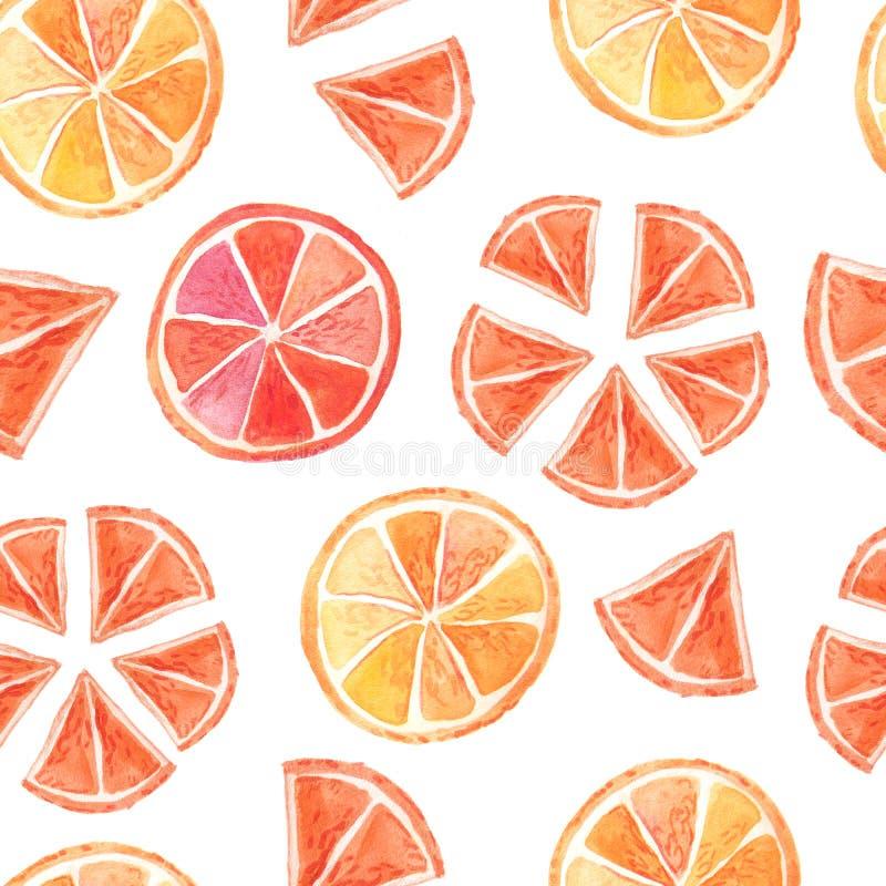 Teste padrão sem emenda do citrino do verão da aquarela ilustração royalty free