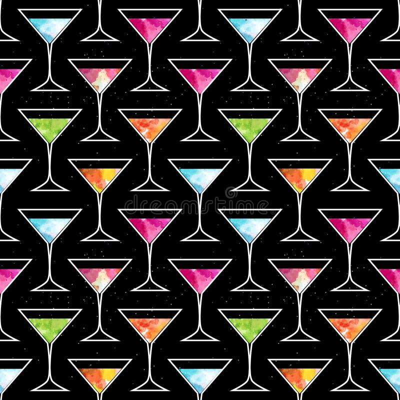 Teste padrão sem emenda do cocktail do disco com vidro na moda de Martini em um fundo preto com elementos da aquarela Inseto ou i ilustração royalty free