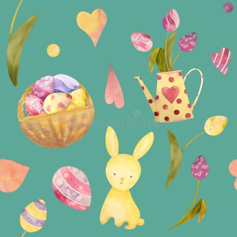 Teste padrão sem emenda do coelho bonito de easter do bebê, ilustração para a roupa das crianças Mão da aquarela tirada fotos de stock