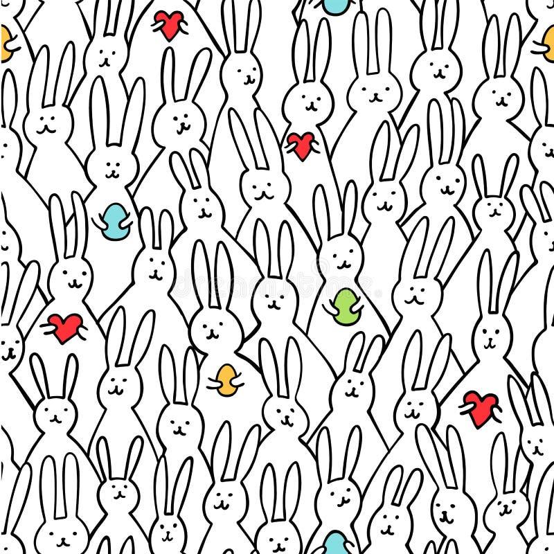 Teste padrão sem emenda do coelho engraçado Ilustração de coelhinhos da Páscoa bonitos com ovos da páscoa e corações Fundo brilha ilustração do vetor
