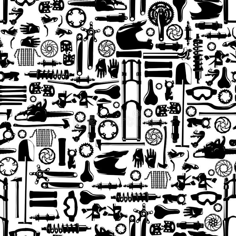 Teste padrão sem emenda do colletion grande do vetor da peça da bicicleta ilustração stock