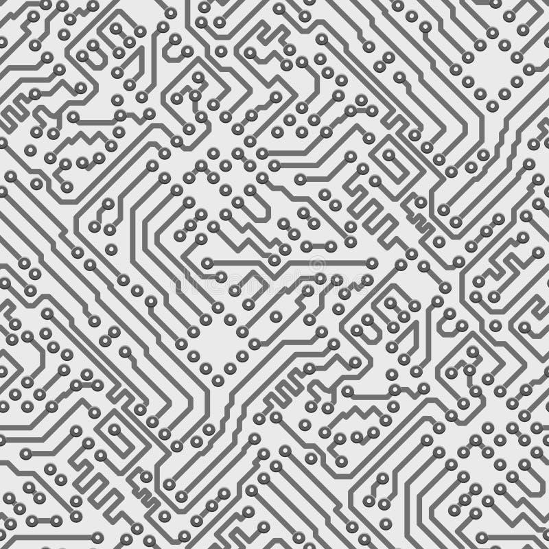 Teste padrão sem emenda do computador de vetor da placa de circuito ilustração stock