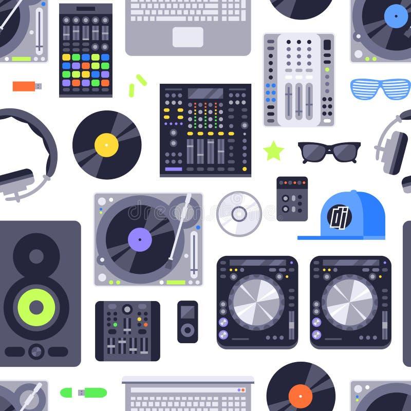 Teste padrão sem emenda do conceito da música feito com ícones Inclui o DJ, a rocha, o clube e elementos audio Vetor Eps10 ilustração royalty free