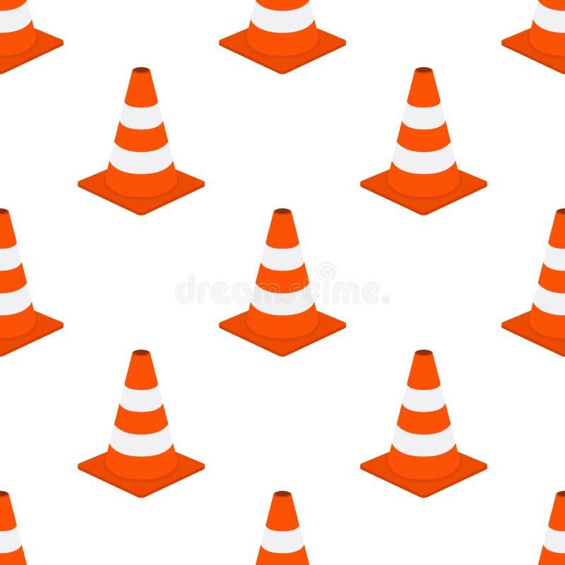 Teste padrão sem emenda do cone alaranjado do tráfego Estilo liso dos desenhos animados Ilustração do vetor ilustração stock
