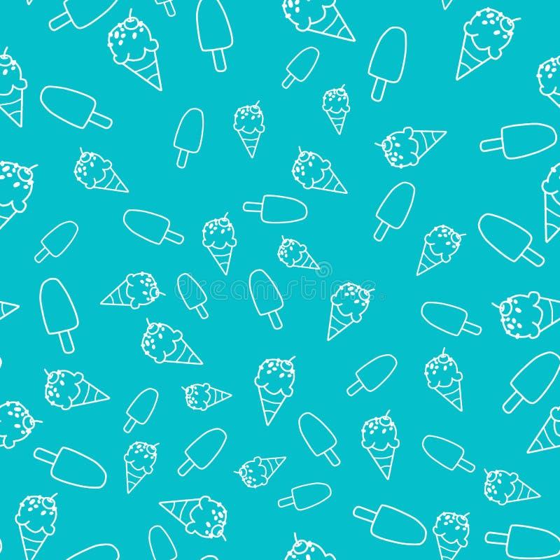 Teste padrão sem emenda do cone de gelado no fundo azul ilustração stock