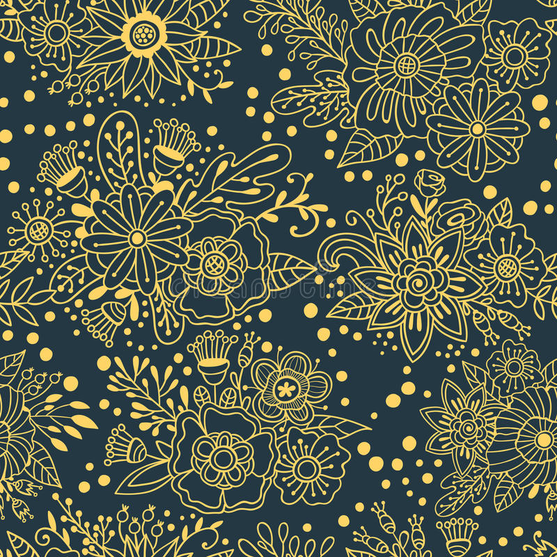Teste padrão sem emenda do convite do casamento com o ornamento floral do ouro Fundo decorativo do vetor Elementos da garatuja da ilustração stock