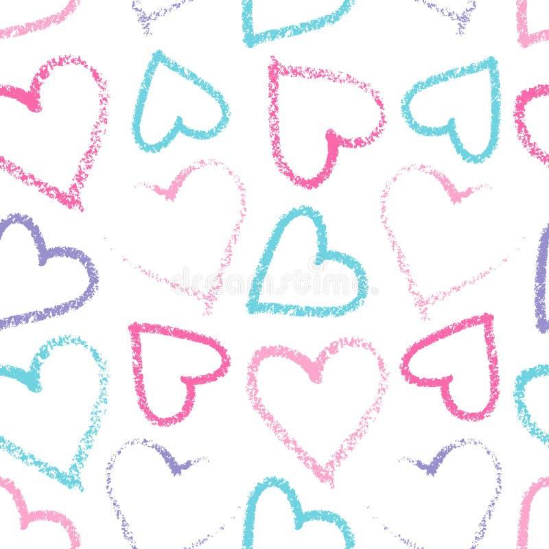 Teste padrão sem emenda do coração ilustração do vetor