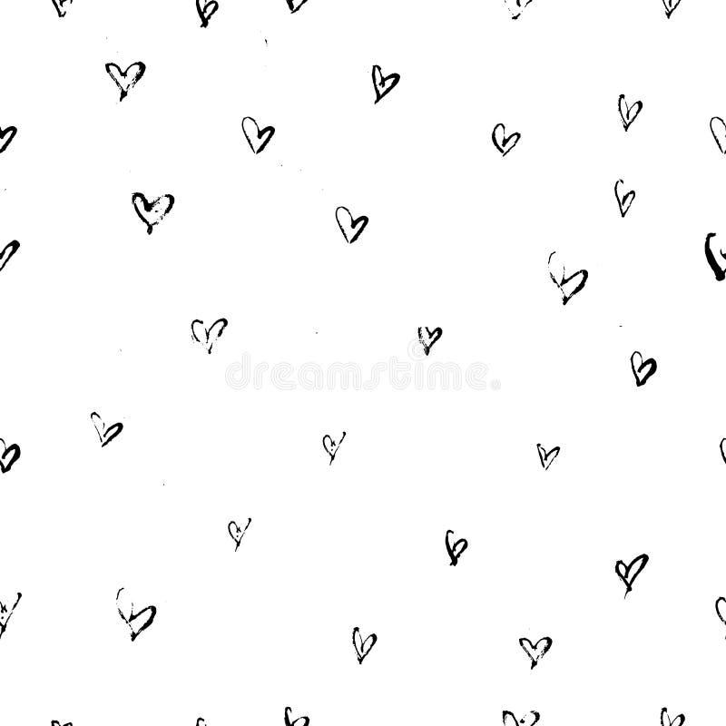 Teste padrão sem emenda do coração abstrato Ilustração da tinta com cursos da escova da carta branca Rebecca 36 ilustração stock