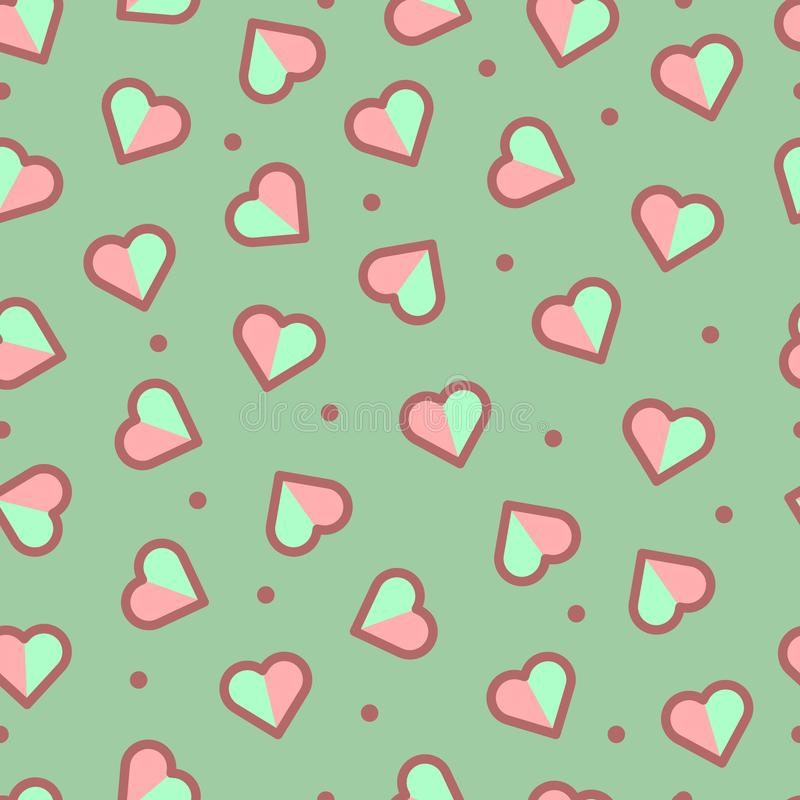 Teste padrão sem emenda do coração, bonito e colorido imagem de stock