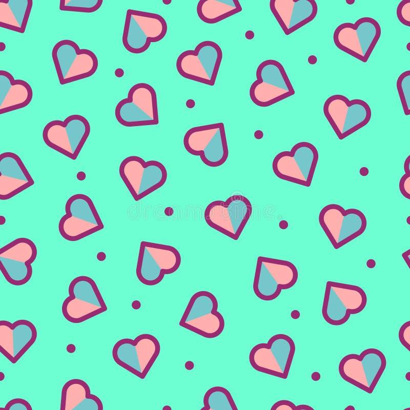 Teste padrão sem emenda do coração, bonito e colorido foto de stock royalty free