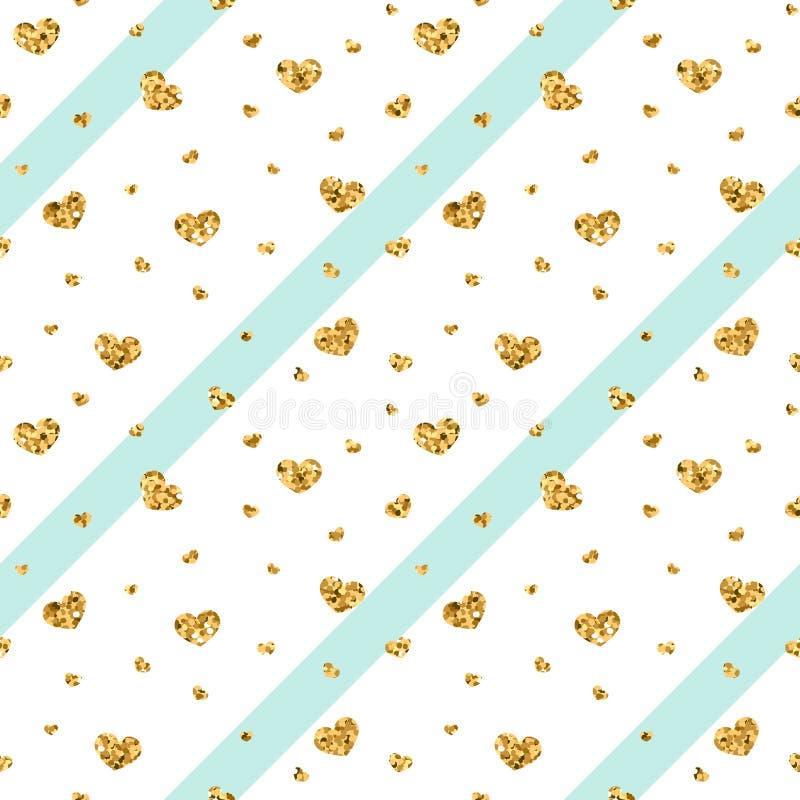 Teste padrão sem emenda do coração do ouro listras geométricas Azul-brancas, confete-corações dourados Símbolo do amor, feriado d ilustração do vetor
