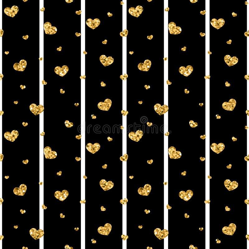 Teste padrão sem emenda do coração do ouro listras geométricas Preto-brancas, confete-corações dourados Símbolo do amor, dia de s ilustração stock