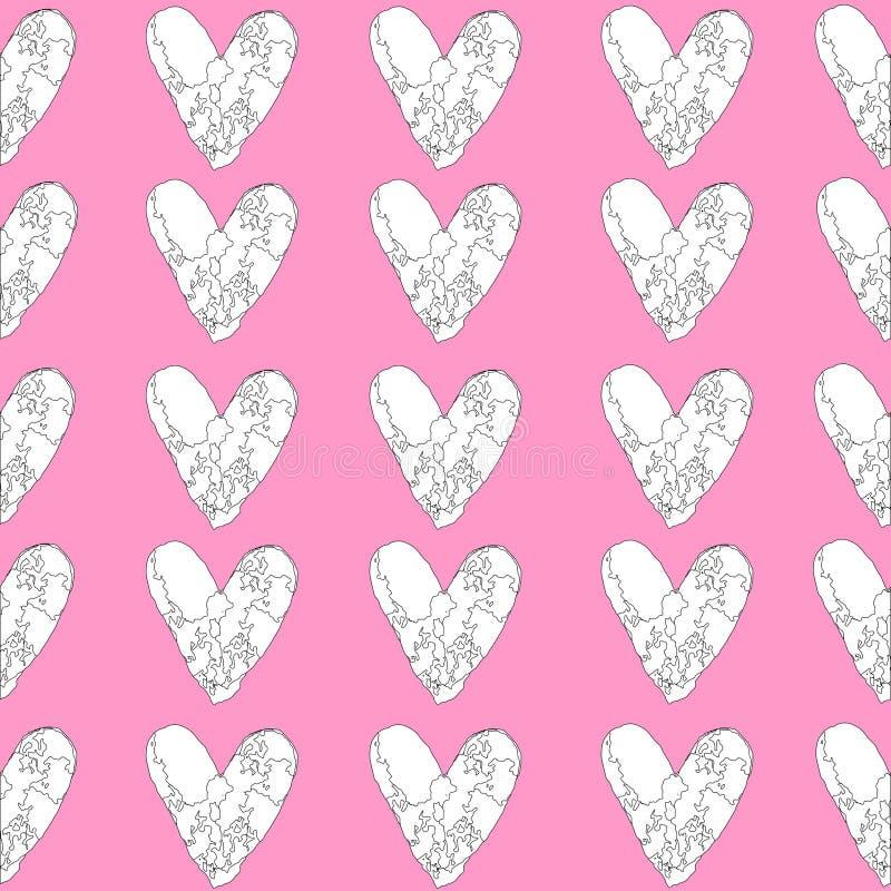 Teste padrão sem emenda do coração preto e branco no fundo cor-de-rosa Papel colorindo, página ilustração do vetor