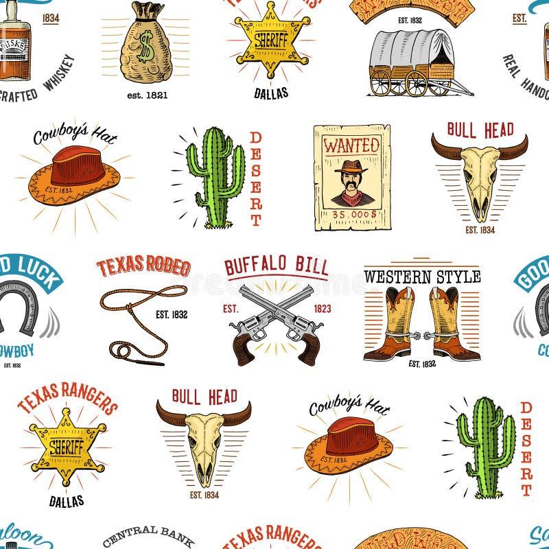 Teste padrão sem emenda do cowboy Oeste, rodeio ou indianos selvagens com laço chapéu e arma, estrela do xerife, bota com ferradu ilustração royalty free