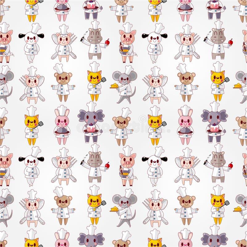 Teste padrão sem emenda do cozinheiro chefe animal dos desenhos animados ilustração stock