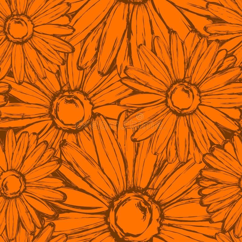 Teste padrão sem emenda do cravo-de-defunto das flores fotografia de stock