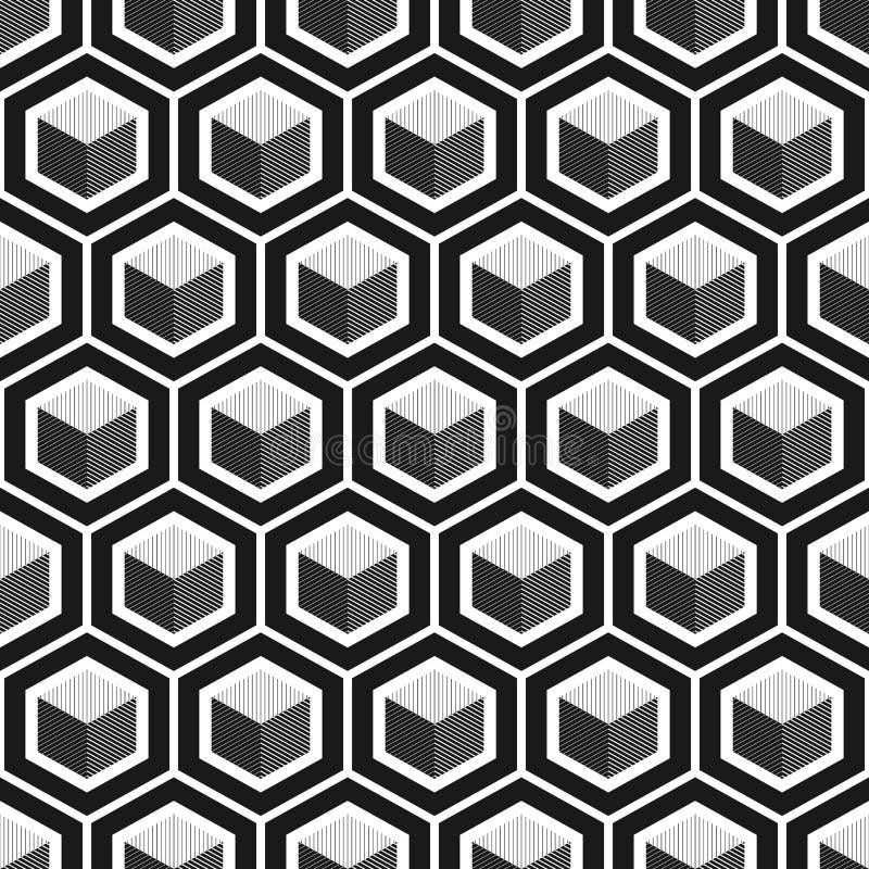 Teste padrão sem emenda do cubo geométrico Projeto gráfico da forma Ilustração do vetor Projeto do fundo Textura abstrata à moda  ilustração stock