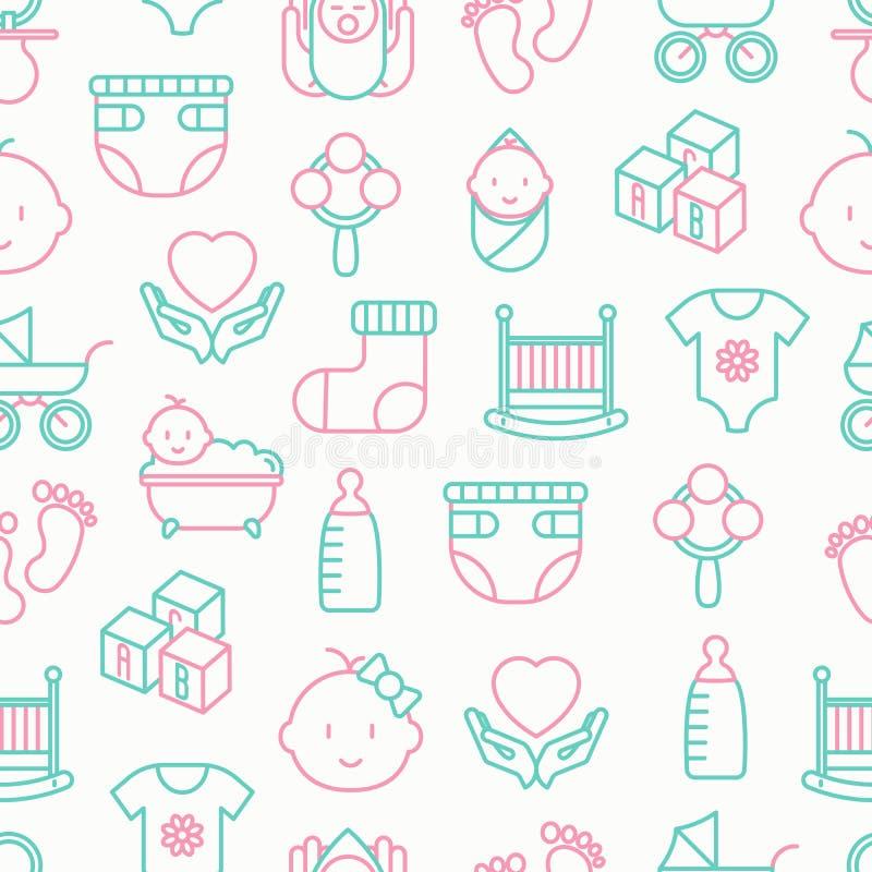 Teste padrão sem emenda do cuidado do bebê ilustração stock