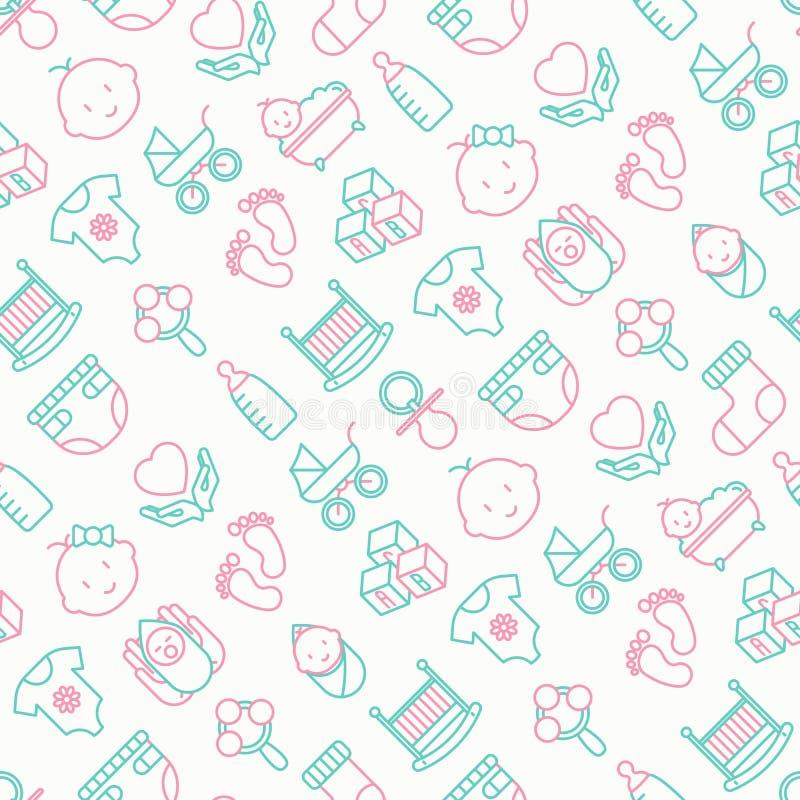 Teste padrão sem emenda do cuidado do bebê com linha fina ícones ilustração royalty free