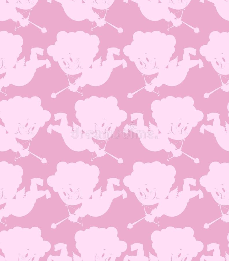 Teste padrão sem emenda do Cupid Fundo romântico de anjos pequenos ilustração stock
