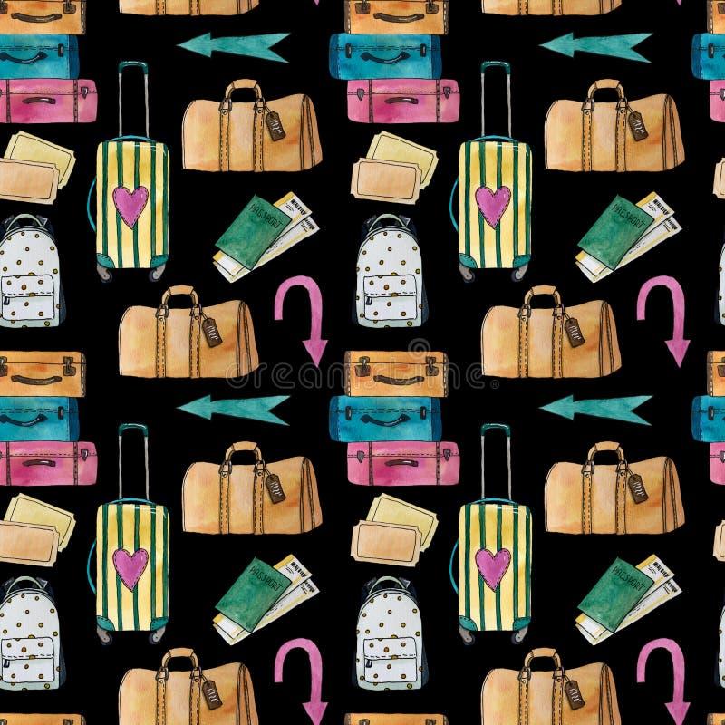 Teste padrão sem emenda do curso da aquarela com mala de viagem, saco, trouxa, setas, passaporte e bilhetes ilustração royalty free
