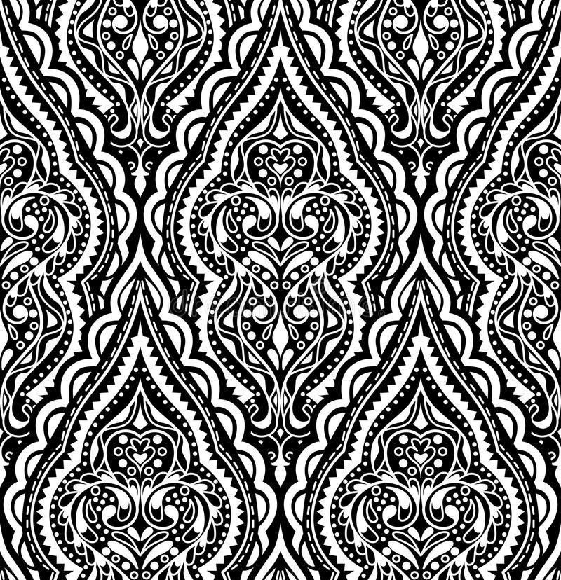 Teste padrão sem emenda do damasco bonito do vetor Backg abstrato do vintage ilustração royalty free