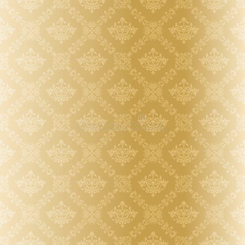 Teste padrão sem emenda do damasco do ouro ilustração stock