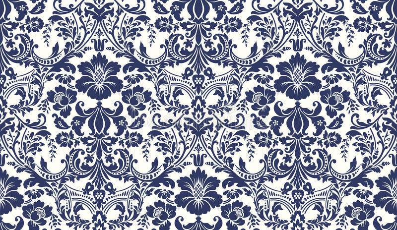 TESTE PADRÃO SEM EMENDA DO DAMASCO DO VETOR Imagem azul e do marfim Ornamento rico, teste padrão velho para papéis de parede, mat ilustração do vetor