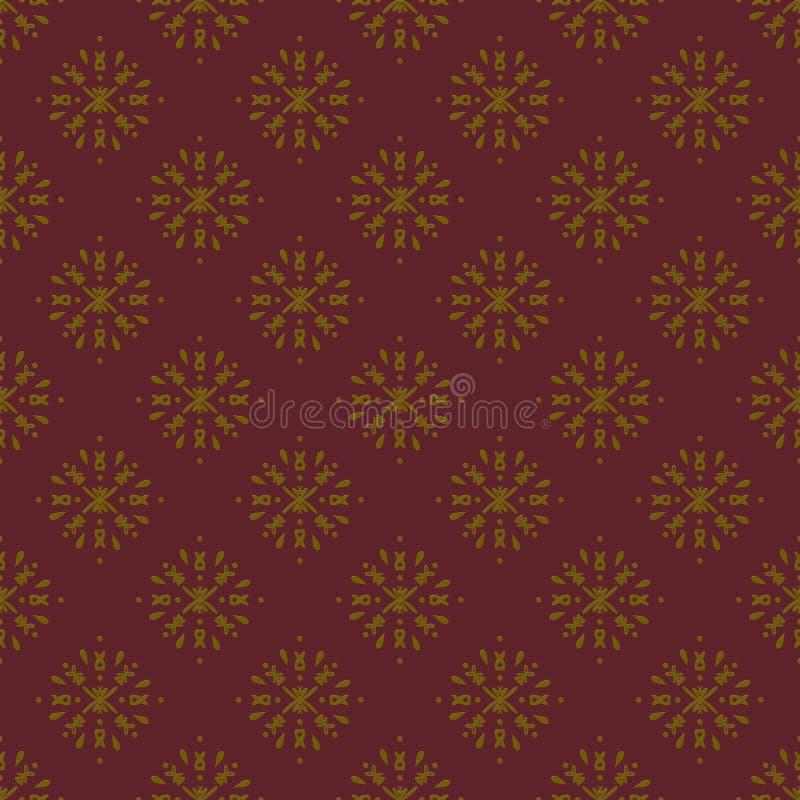 Teste padrão sem emenda do damasco dourado e marrom ilustração royalty free