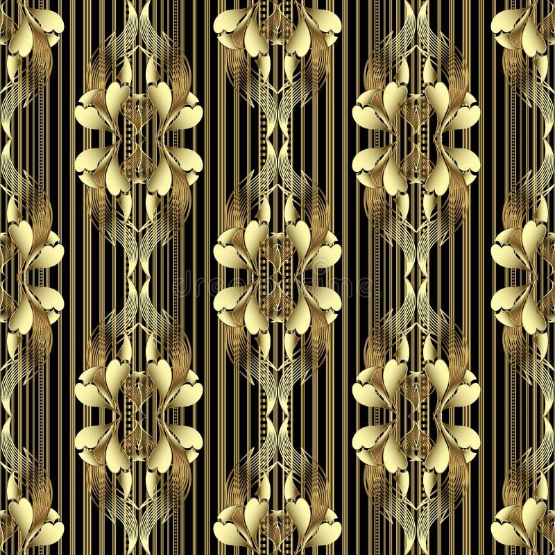 Teste padr?o sem emenda do damasco floral do vintage do ouro Fundo listrado decorativo do vetor Flores douradas tiradas m?o de 3d ilustração stock