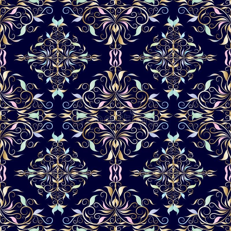 Teste padrão sem emenda do damasco Obscuridade floral do vetor - fundo azul com ilustração do vetor