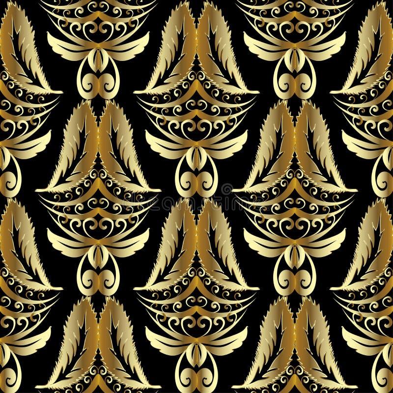 Teste padrão sem emenda do damasco do ouro 3d Vintage luxuoso background ouro ilustração do vetor