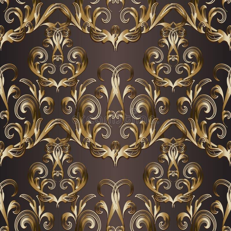 Teste padrão sem emenda do damasco do ouro Fundo barroco do vetor Wallpap ilustração do vetor