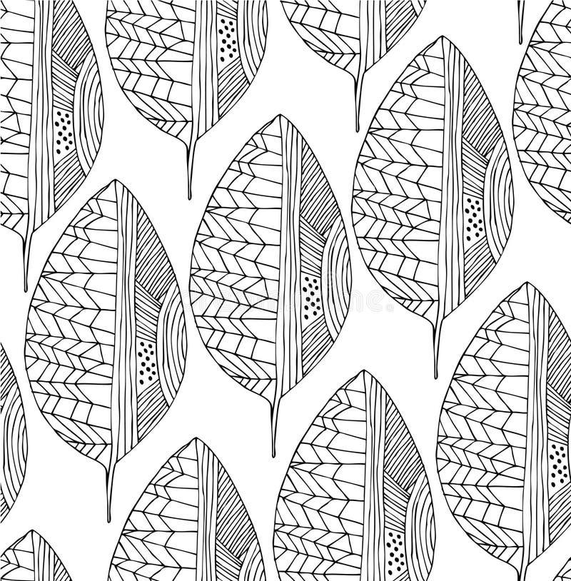 Teste padrão sem emenda do desenho com folhas decorativas Linha arte do vetor ilustração stock
